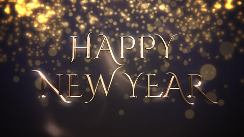 Animated closeup Happy New Year text, gold particles on blue background Animation