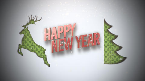 Animated closeup Happy New Year text, green Christmas tree and deer on snow background Animation