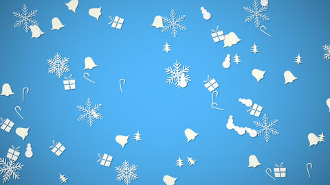 White snowflakes, bells, snowman and gift random motion. Happy New Year and Merry Christmas abstract Animation
