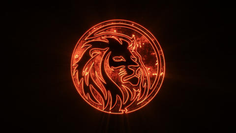 Fire Lion Logo with Reveal Effect Overlay Graphic Element Videos animados