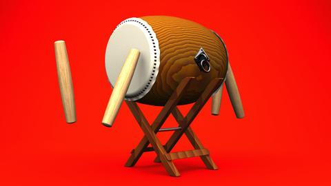 Asian Drum And Sticks On Red White Background Videos animados