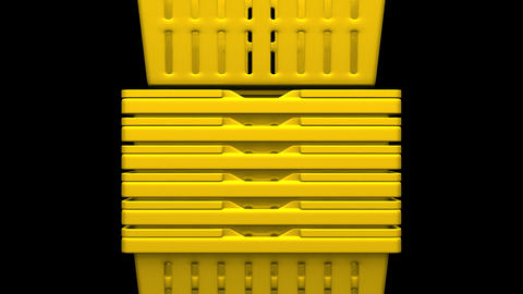 Closeup Of Yellow Shopping Baskets On Black Background Animation