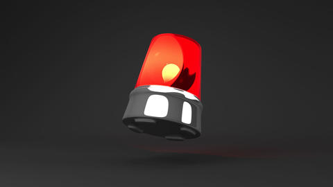 Jumping Red Warning Light On Black Background Animation
