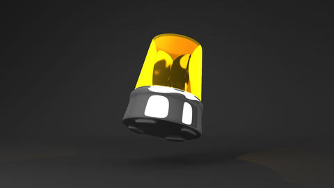 Jumping Yellow Warning Light On Black Background Animation