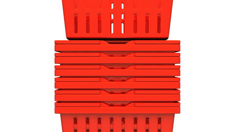Closeup Of Red Shopping Baskets On White Background Animation