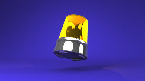 Jumping Yellow Warning Light On Blue Background Animation