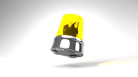 Jumping Yellow Warning Light On White Background Animation
