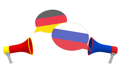 Flags of Russia and Germany on speech bubbles with loudspeakers. Intercultural Live Action