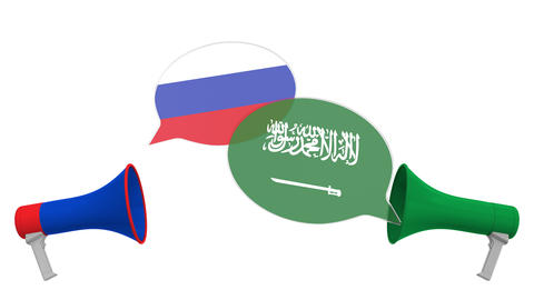 Flags of Saudi Arabia and Russia on speech balloons from megaphones Live Action
