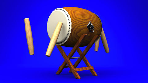 Loopable Asian Drum And Sticks On Blue Background Animation