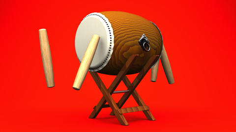 Loopable Asian Drum And Sticks On Red Background Videos animados