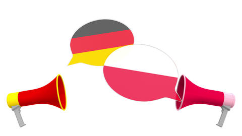 Speech bubbles with flags of Poland and Germany. Intercultural dialogue or Live Action