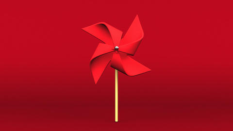 Loopable Red Pinwheel On Red Background Animation