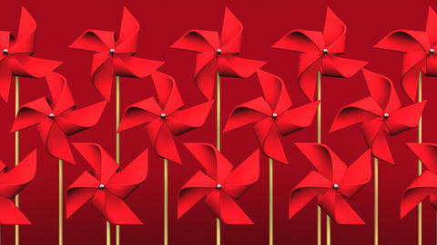 Loopable Red Pinwheels On Red Background Animation
