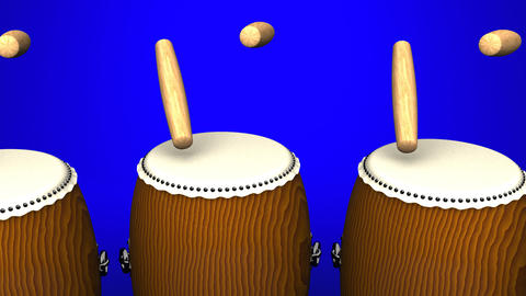 Loopable Asian Drums On Blue Background Animation