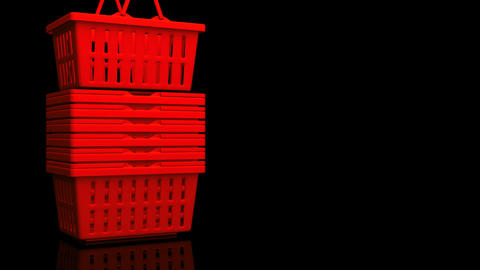 Red Shopping Baskets On Black Text Space Videos animados