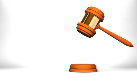 Wooden Judge Gavel On White Text Space Animation