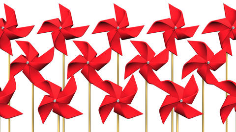 Loopable Red Pinwheels On White Background CG動画
