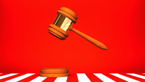 Wooden Judge Gavel On Red White Background Animation