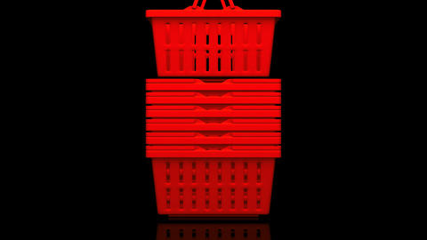 Red Shopping Baskets On Black Background Animation