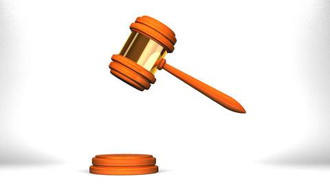 Wooden Judge Gavel On White Background CG動画