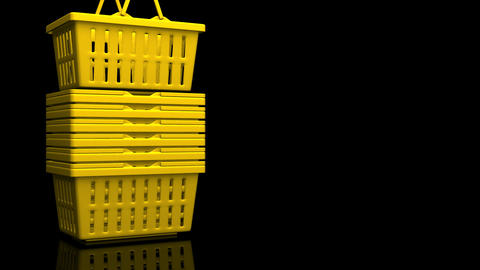 Yellow Shopping Baskets On Black Text Space Videos animados
