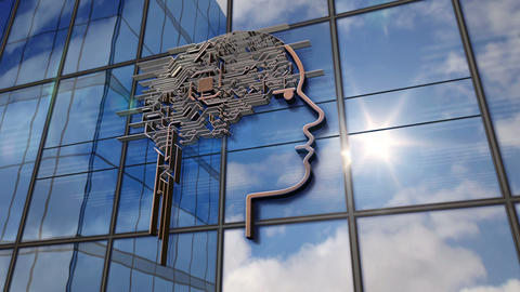 Artificial intelligence symbol on glass mirrored building Animation