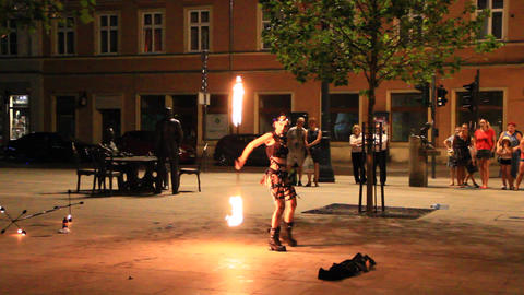 Fakir entertaining public with vibrant show in Lodz Live Action