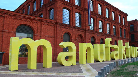 Huge letters in word Manufactura in Lodz. Manufaktura arts centre, shopping mall Footage