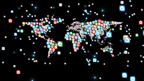 World map - Social Media icons 2 Animation