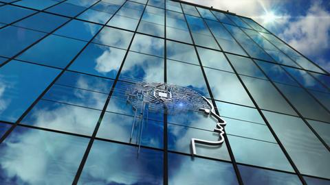 AI symbol glass skyscraper with mirrored sky Animation