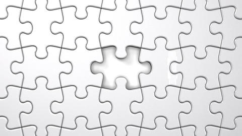 White Jigsaw Puzzle Stock Video Footage