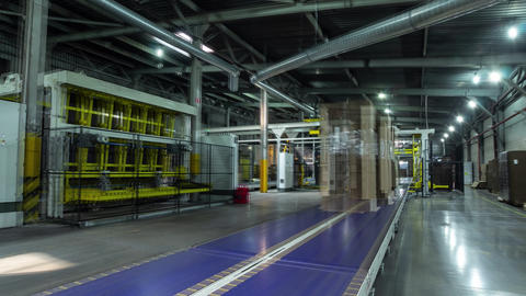 cardboard transported by conveyor in workshop timelapse Footage