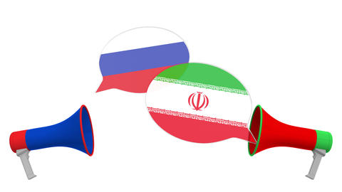 Speech bubbles with flags of Iran and Russia and loudspeakers. Intercultural Live Action