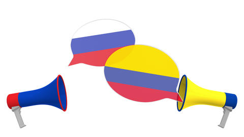 Flags of Colombia and Russia on speech bubbles with loudspeakers. Intercultural Live Action