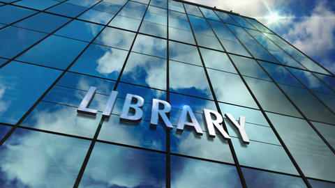Library glass skyscraper with mirrored sky loop animation Animation