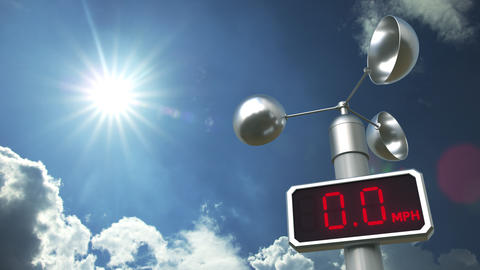 Wind speed measuring anemometer shows 50 mph. Weather forecast related 3D Live Action