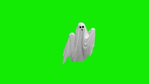 Cartoon Flying white Ghost on an green screen Footage