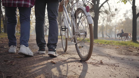 Close-up of two pairs of adult legs in sneakers walking with bicycle along the Footage