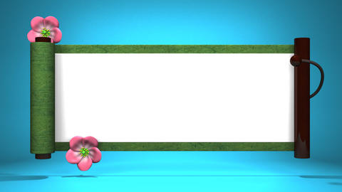 Scroll And Blooming Flowers On Blue Background Videos animados