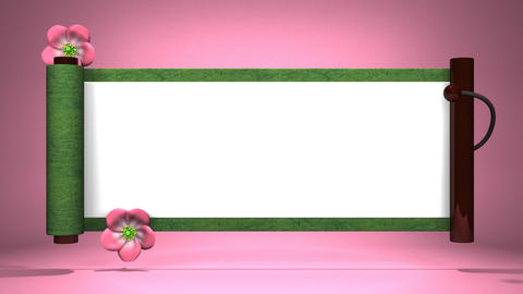 Scroll And Blooming Flowers On Pink Background Videos animados