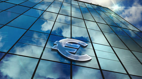 Euro currency symbol on glass skyscraper with mirrored sky loop animation CG動画