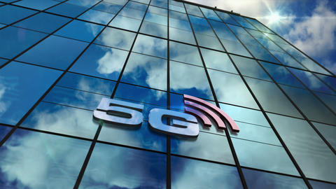 5G mobile communication on glass skyscraper with mirrored sky loop animation CG動画