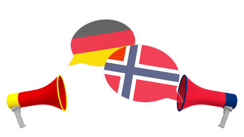 Flags of Norway and Germany on speech balloons from megaphones. Intercultural Live Action