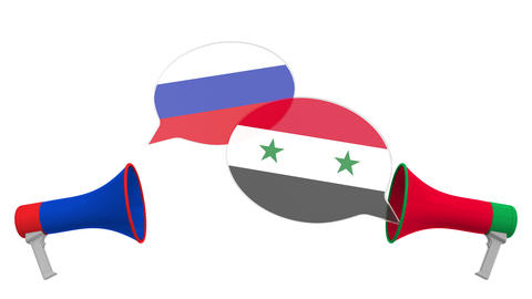 Flags of Syria and Russia on speech bubbles with loudspeakers. Intercultural Live Action