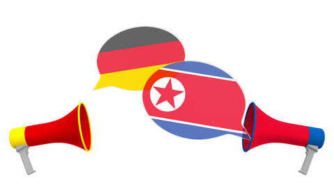Speech bubbles with flags of North Korea and Germany. Intercultural dialogue or Live Action