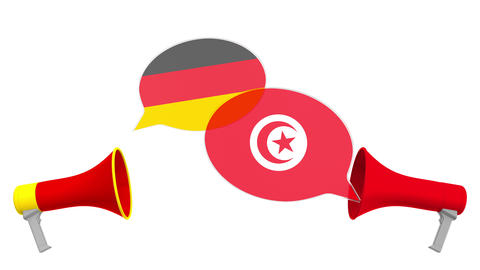 Speech bubbles with flags of Tunisia and Germany. Intercultural dialogue or Live Action