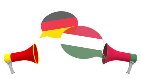 Speech bubbles with flags of Hungary and Germany. Intercultural dialogue or Live Action