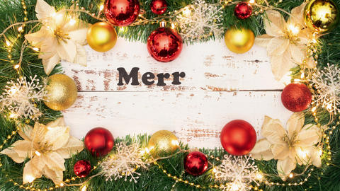 Stop motion animation of Merry Christmas title appearing inside beautiful frame of Christmas Animation