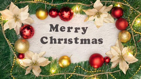 Christmas decorative frame with Merry Christmas title inside and blinking lights Animation